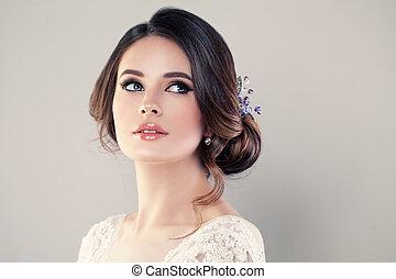 perfeitos, modelo moda, mulher, com, bonito, hairstyle., prom, ou, noiva, menina