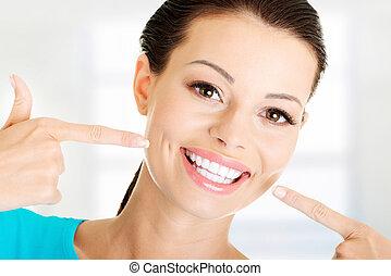 perfeitos, mostrando, mulher, dela, teeth.