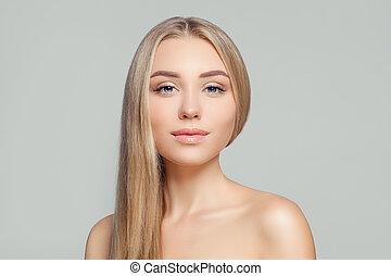 perfeitos, mulher, beleza natural, saudável, claro, cabelo longo, skin., portrait., loura, loiro, menina