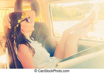 perfeitos, mulher bonita, dela, relaxante, sentando, jovem,...