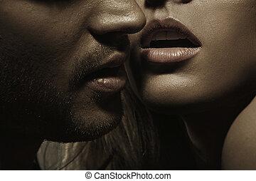 perfeitos, mulher, jovem, cabelo, lábios, facial, sensual, homem