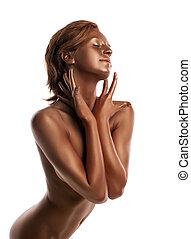 perfeitos, mulher jovem, retrato, com, metal, pele