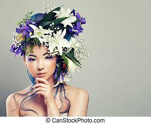 perfeitos, mulher, penteado, fazer, maquilagem, jovem, cima, moda, asiático, floral, beleza, manicure.