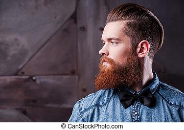 perfeitos, perfil, barbudo, hairstyle., afastado, olhando...