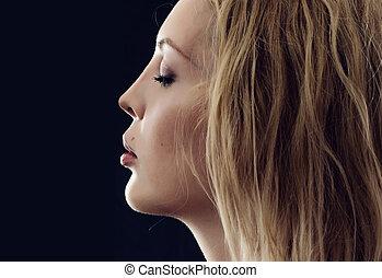perfeitos, perfil, mulher, jovem, rosto