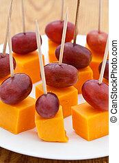 perfeitos, queijo, cubos, seedless, snacks., uvas, partido, ...