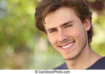 perfeitos, rosto, sorrizo, branca, homem, bonito