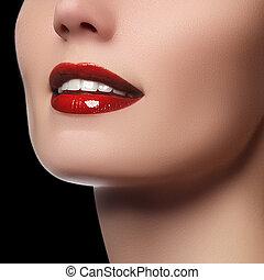 perfeitos, saudável, dental, lábios, dentes, sorrizo, branco vermelho, cuidado