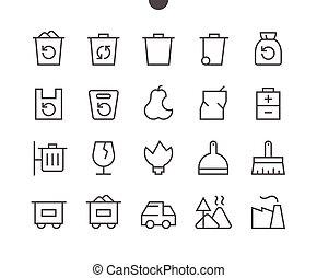 perfeitos, teia, gráficos, 48x48, lixo, pictograma, simples, 24x24, esboçado, ícones, apps, well-crafted, vetorial, grade, stroke., editable, pronto, linha, pixel, mínimo, magra