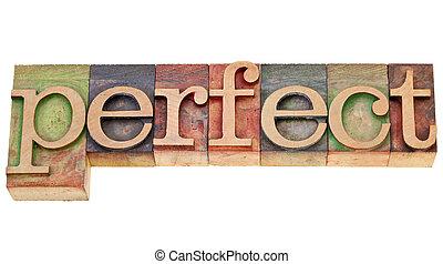 perfeitos, tipo, letterpress, palavra
