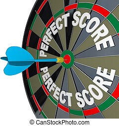 perfeitos, vencedor, dartboard, dardo, contagem, palavras