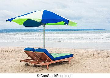 perfeitos, verão, cadeiras, sol, tropicais, sunbed, mar, lounger, praia