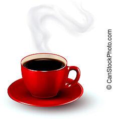 perfeitos, xícara vermelha, de, café, com, steam., café,...