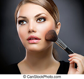 perfekt, bewerben, makeup., kosmetikartikel, make-up, brush.