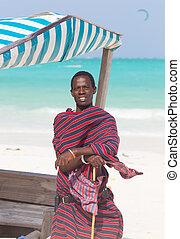 perfekt, bild, tansania, traditonaly, sandstrand, angezogene , paje, zanzibar, tropische , maasai, schwarz, afrika., osten, mann