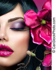 perfekt, brünett, schoenheit, makeup., modell, feiertag,...
