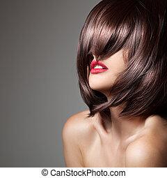 perfekt, brun, närbild, skönhet, länge, glatt, hair., modell, portr