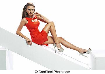 perfekt, brunett, kvinna, tröttsam, sexig, klänning