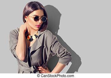 perfekt, brunett, skönhet, smink, tillbehör, mode, ha på sig, toppmodern, modell, flicka