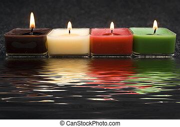 perfekt, candles, hen, rendered, vand