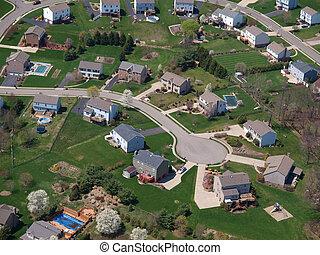 perfekt, culdesac, förorts-, neighborhood., klassisk