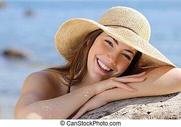 perfekt, frau, lieb, lächeln, porträt, weißes