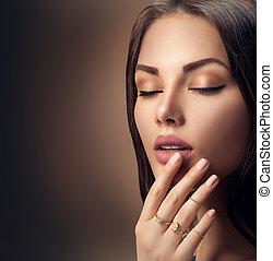 perfekt, frau, natürlich, lippenstift, aufmachung, lippen, matte, mode, beige
