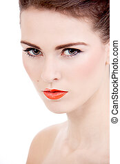 perfekt, frau, schoenheit, freigestellt, gesicht, lippen, orange