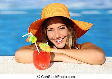 perfekt, frau, schoenheit, urlaube, lächeln, genießen, teich, schwimmender