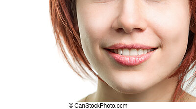 perfekt, frisch, lippen, frau, z�hne