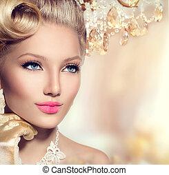 perfekt, frisyr, årgång, smink, designa, flicka