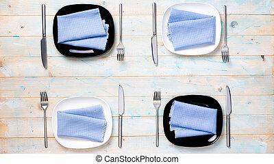 platte quadrat fork person eins einstellung ort wei es messer. Black Bedroom Furniture Sets. Home Design Ideas
