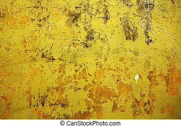 perfekt, grunge, vägg, -, gul fond