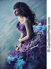 perfekt, klänning, skönhet, underbar