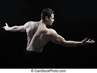 perfekt, koerper, ehrfurchtgebietend, -, bodybuilder, posierend, mann