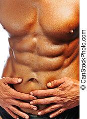 perfekt, koerper, freigestellt, bodybuilder, champion, mann
