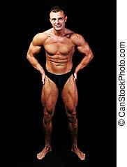perfekt, koerper, freigestellt, bodybuilder, leistung, mann