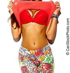 perfekt, koerper, von, stilvoll, sexy, sunbathed, heiß, modell, mit, groß, meisen, in, rotes , damenunterwäsche