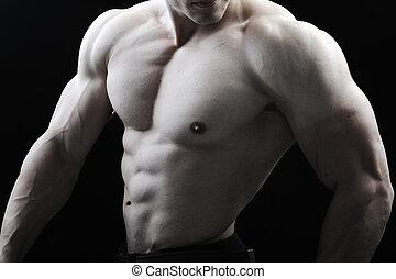 perfekt, kropp, respektingivande, -, bodybuilder, framställ, manlig