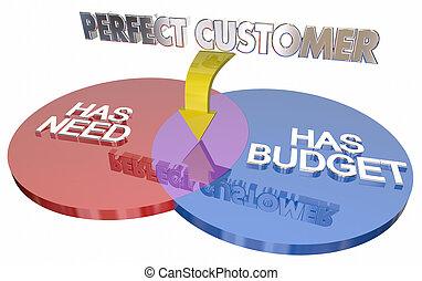 perfekt, Kunde, hat,  budget, abbildung, diagramm, Bedürfnis,  venn,  3D