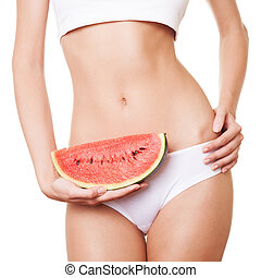 perfekt, kvinna, body., magra, kost, begrepp