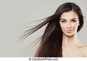 perfekt, kvinna, skönhet, ung, uppe, ansikte, blåsning, kvinnlig, hair., nära