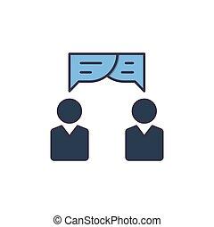 perfekt, linear, zusammenarbeit, gespräch, logo, zeichen, stil, pixel, freigestellt, vektor, farbe, ikone, piktogramm, symbol, stroke., grobdarstellung, linie, white., illustration., editable