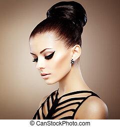 perfekt, makeup., sensuelle, hairstyle., smukke, mode, herskabelig, fotografi, portræt, kvinde
