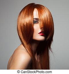 perfekt, närbild, skönhet, länge, portrai, glatt, hair., modell, röd