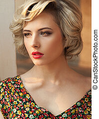 perfekt, porträt, blond, schoenheit