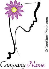 perfekt, profil, av, a, ung kvinna