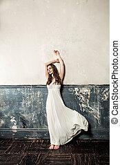 perfekt, schöne , dress., weinlese, glamourus, frau, hintergrund, weißes, mannequin
