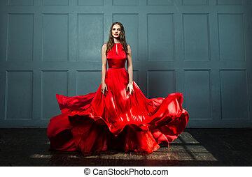 perfekt, schöne frau, blaues, dress., hintergrund, modell, mode, rotes
