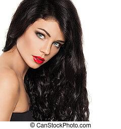 perfekt, schöne , frisur, frau, gesunde, makeup., haar, brünett, langer, hintergrund, modell, weißes